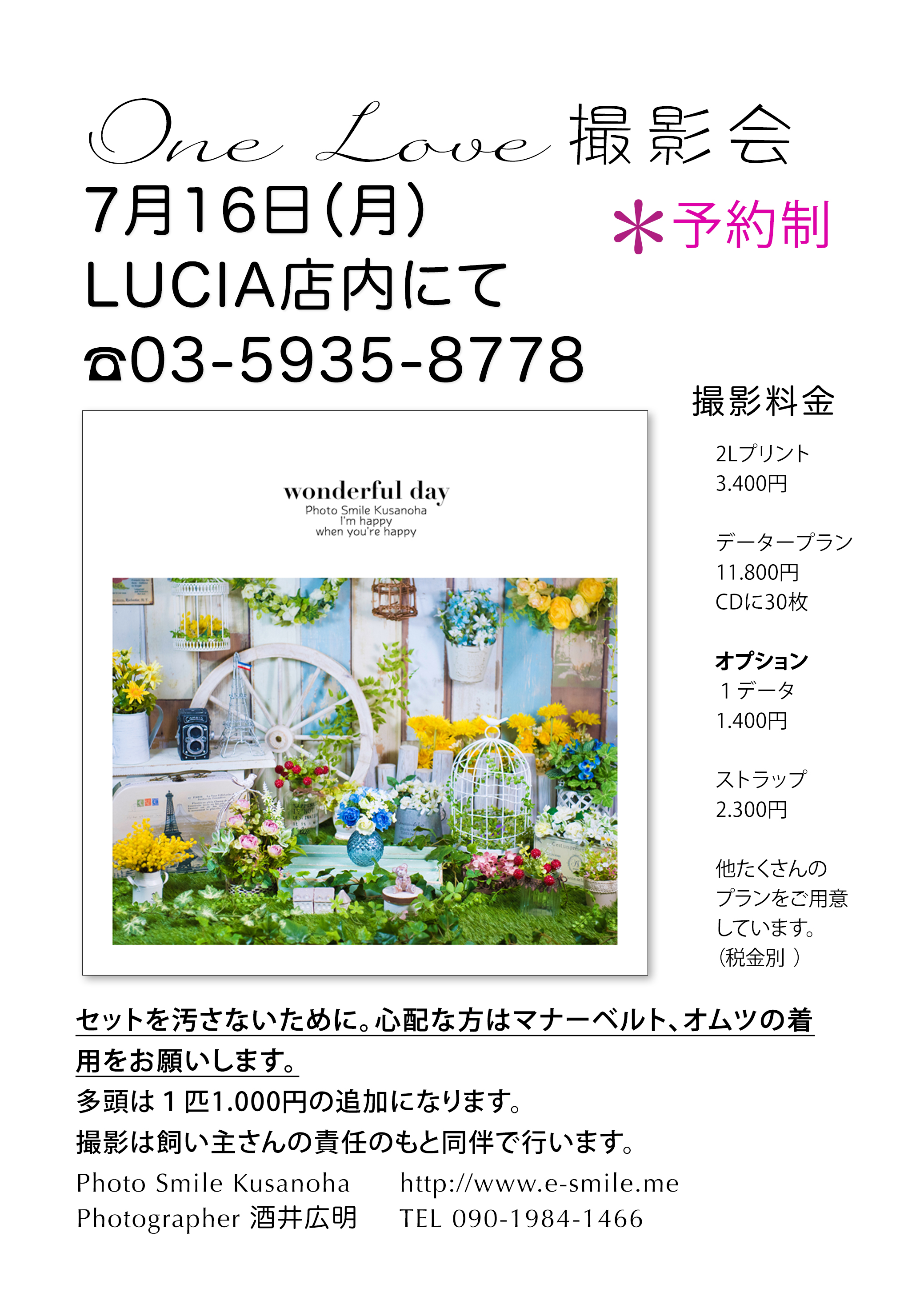 わんちゃんの撮影会イベント